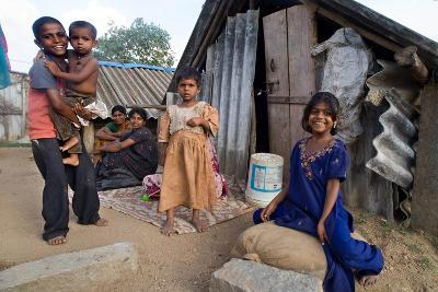 Family of Slum Residents Outside their Home in Rajagopal Nagar, Bangalore, Karnataka, India--Giclee Print