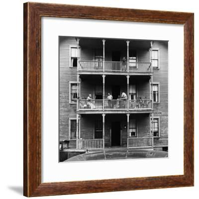 Family on Balcony of Apartment Building-Gordon Parks-Framed Premium Photographic Print