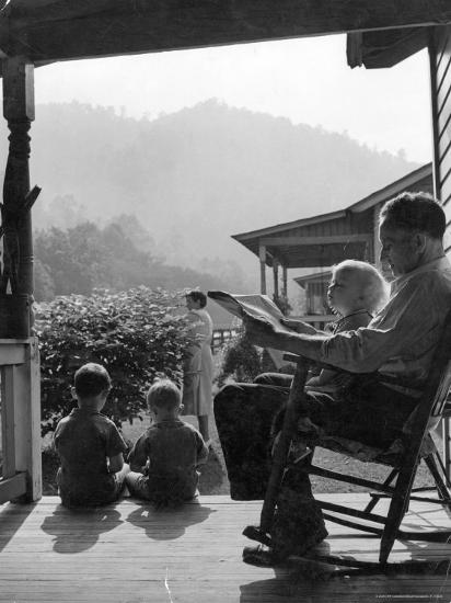 Family Outside in Front Yard of Their Home in Coal Mining Town-Alfred Eisenstaedt-Photographic Print