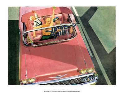 Family Road Trip, Mid-Century Modern Car Adverting--Art Print