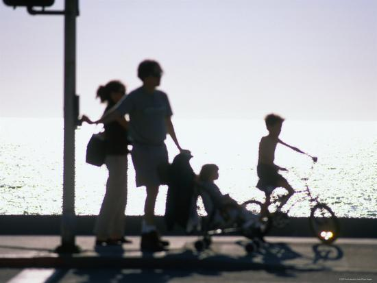 Family Takes an Early Evening Stroll along Redondo Beach in Los Angeles, Los Angeles, California-Ray Laskowitz-Photographic Print