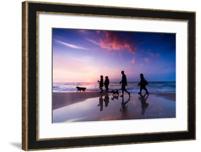 Family Walk on the Beach at Sunset-Michal Bednarek-Framed Photographic Print