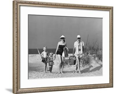 Family Walking on Beach, Carrying Fishing Poles and Portable Cooler--Framed Photographic Print
