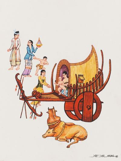 Family with their Ox-Cart, 1993-Yoe Yar Maung-Giclee Print