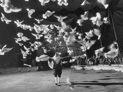 Famous Animal Trainer Vladimir Durov of the Moscow Circus Performing with His Birds-Loomis Dean-Photographic Print
