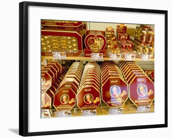 Famous Mozart Chocolates, Salzburg, Austria-Richard Nebesky-Framed Photographic Print