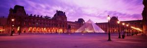 Famous Museum, Sunset, Lit Up at Night, Louvre, Paris, France