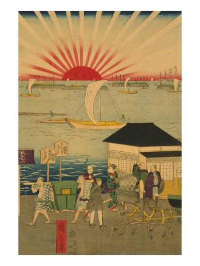 Famous Places in Tokyo: Real View of Takanawa No.2 Featuring the Rising Sun-Ando Hiroshige-Art Print
