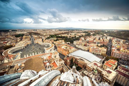 Famous Saint Peter's Square in Vatican and Aerial View of the City, Rome, Italy.-GekaSkr-Photographic Print