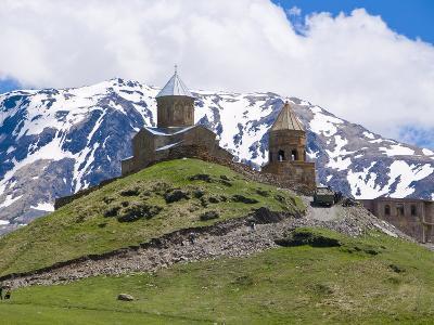 Famous Tsminda Sameba Church, Kazbegi, Georgia, Caucasus, Central Asia, Asia--Photographic Print
