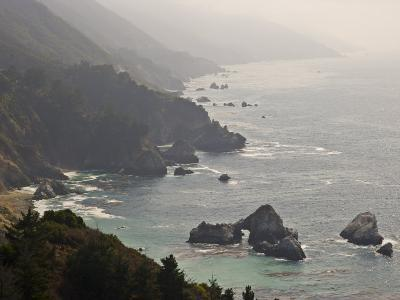 Famous View of the Coast Along Route 1 in Big Sur-Michael Melford-Photographic Print
