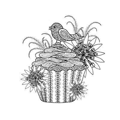 Fancy Cupcake-The Tangled Peacock-Giclee Print