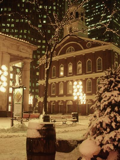 Faneuil Hall at Christmas with Snow, Boston, MA-James Lemass-Photographic Print