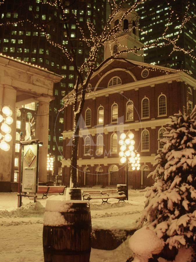 Christmas In Boston Massachusetts.Faneuil Hall At Christmas With Snow Boston Ma Photographic Print By James Lemass Art Com