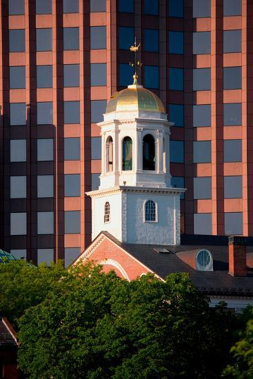 Faneuil Hall Weather Vane Tower, built in 1740-1742, is surrounded by contemporary office buildi...--Photographic Print