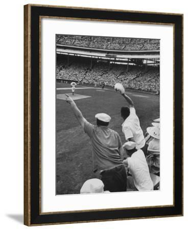 Fans Cheering at Milwaukee Braves Home Stadium During Game with Ny Giants-Francis Miller-Framed Photographic Print