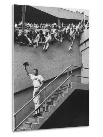 Fans Welcoming Giants Star Willie Mays at Polo Grounds-Art Rickerby-Metal Print