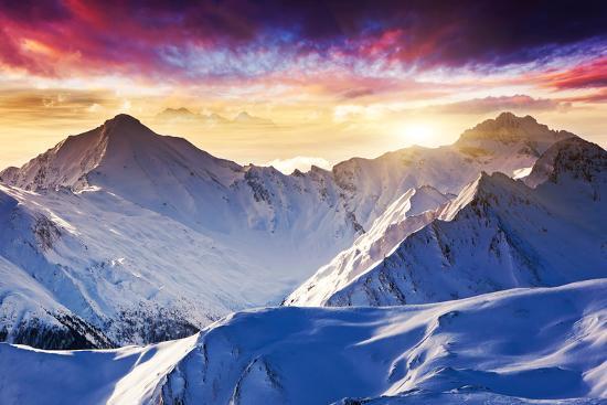 Fantastic Evening Winter Landscape-Leonid Tit-Photographic Print