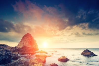 Fantastic Morning Blue Sea Glowing by Sunlight. Dramatic Scene. Black Sea, Crimea, Ukraine, Europe.-Leonid Tit-Photographic Print