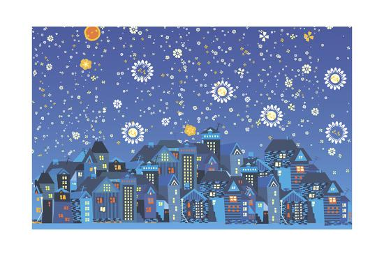 Fantastic Night over the City-Kotyara-Art Print