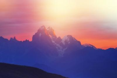Fantastic Sunlight over the Mountain Ushba. Dramatic and Picturesque Scene. Location Mestia, Upper-Leonid Tit-Photographic Print