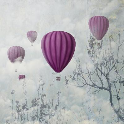 Fantasy Artistic Image of Pink Hot Air Balloons in the Clouds. Fine Art Surreal Landscape Scenery.-hitdelight-Art Print