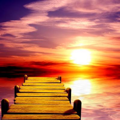 Fantasy Beautiful Sunset And Wooden Pier-frenta-Art Print