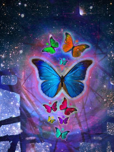 Fantasy Blue Butterfly Insect-Wonderful Dream-Art Print
