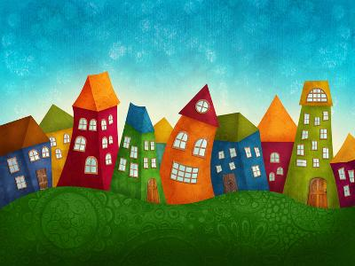 Fantasy Colorful Houses-Elena Schweitzer-Art Print