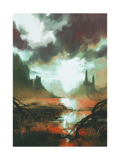 Fantasy Landscape of Mystic Red Swamp at Sunset,Illustration-Tithi Luadthong-Art Print