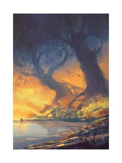 Fantasy Landscape Painting of Big Trees with Huge Roots at Sunset Beach-Tithi Luadthong-Art Print
