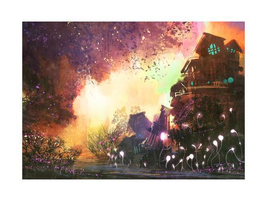 Fantasy Landscape with Ancient Castle,Digital Painting,Illustration-Tithi Luadthong-Art Print