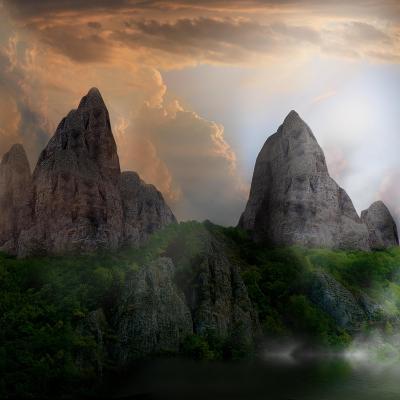 Fantasy Mountain Landscape-lilkar-Art Print