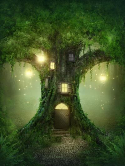 Fantasy Tree House in Forest-egal-Photographic Print