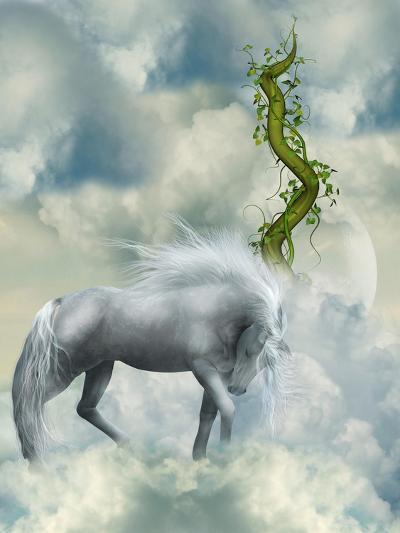Fantasy White Horse-justdd-Art Print