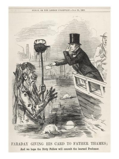 Faraday Giving His Card to Father Thames--Giclee Print