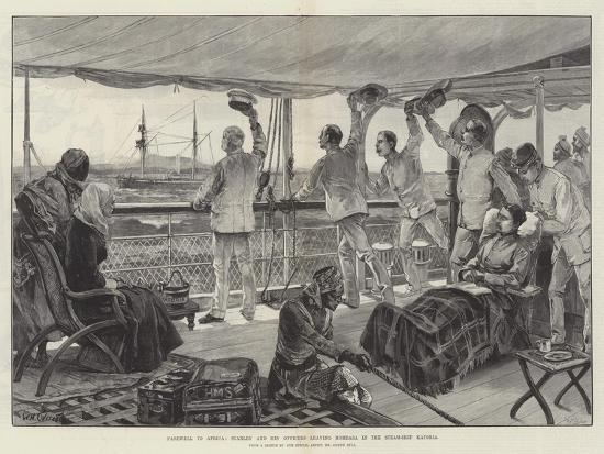 Farewell to Africa, Stanley and His Officers Leaving Mombasa in the Steam-Ship Katoria-William Heysham Overend-Giclee Print
