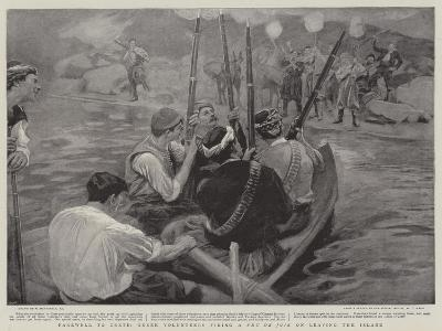 Farewell to Crete, Greek Volunteers Firing a Feu De Joie on Leaving the Island-William Hatherell-Giclee Print