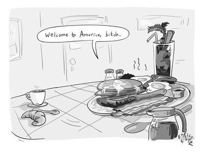 A greasy plate of pancakes, bacon, and eggs speaks to a cup of coffee, ban? - New Yorker Cartoon