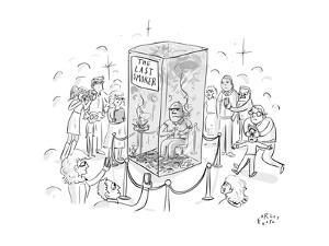 """(A man smokes cigarettes in a glass box with a sign that reads """"The Last S? - New Yorker Cartoon by Farley Katz"""