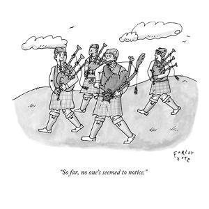"""So far, no one's seemed to notice."" - New Yorker Cartoon by Farley Katz"