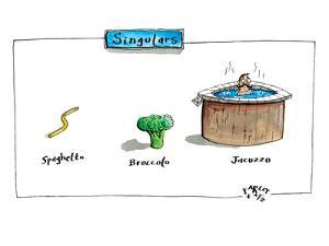 The labels beneath images of spaghetti, broccoli, and a jacuzzi, give thei? - New Yorker Cartoon by Farley Katz