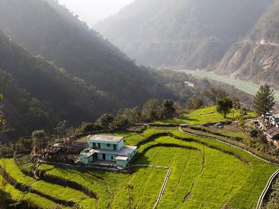 Farm Among a Green Fields Close to Rishikesh, Uttarkhand, India, Asia--Photographic Print