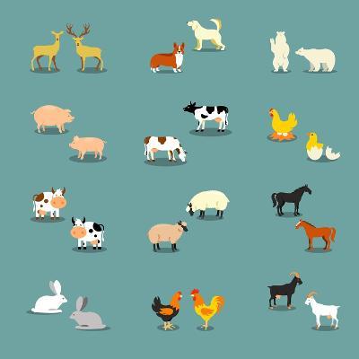 Farm Animals and Pets-K N-Art Print