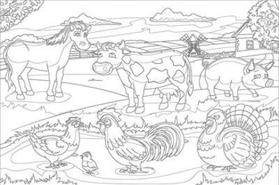 Farm Animals - Kids Coloring Art