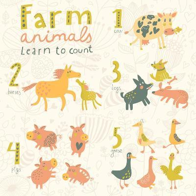 Farm Animals. Learn to Count Part One. 1 Cow, 2 Horses, 3 Dogs, 4 Pigs, 5 Geese. Funny Cartoon Chil-smilewithjul-Art Print