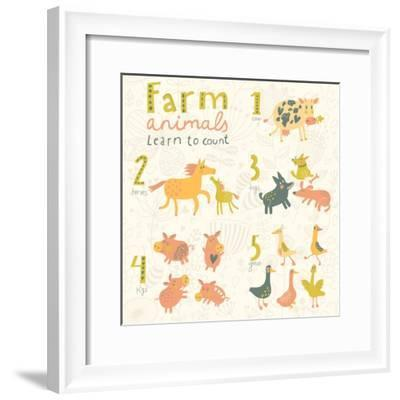 Farm Animals. Learn to Count Part One. 1 Cow, 2 Horses, 3 Dogs, 4 Pigs, 5 Geese. Funny Cartoon Chil-smilewithjul-Framed Premium Giclee Print