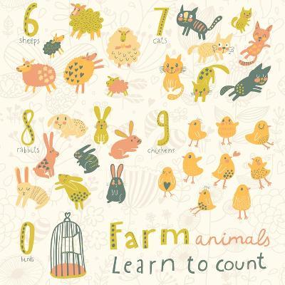 Farm Animals. Learn to Count Part One. 6 Sheep, 7 Cats, 8 Rabbits, 9 Chickens, 0 Birds. Funny Carto-smilewithjul-Art Print