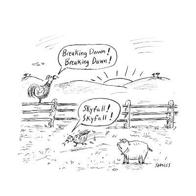 Farm animals shout the names of newly released movies. - Cartoon-David Sipress-Premium Giclee Print