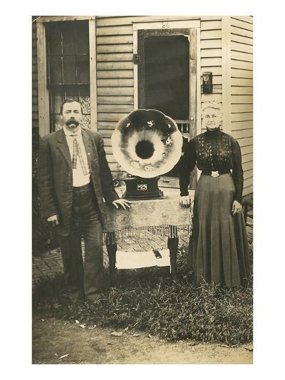 Farm Couple with New Victrola--Art Print